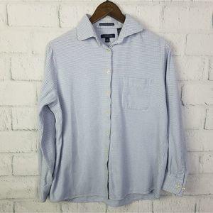 Land's End Blue Portuguese Flannel Button Up Top